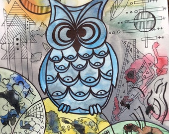 Mr. owl (watercolor)