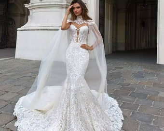 4fb4bdd261ea7 Mermaid Wedding Dress Cape And Head Piece Custom Made