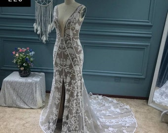 Breath Taking Smoky Bride Plunging Neckline The Dreamie Boho Wedding Gown  Bridal Gown