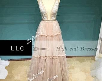 "Breath Taking Bohemian Whimsical Wedding Dress ""Elora"" Like No Other! Custom Made Dusty Pink White Ivory"