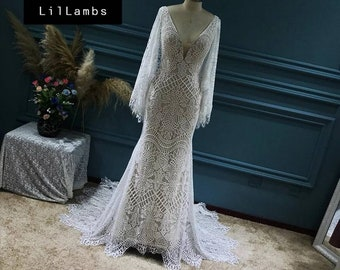 Breath Taking Bohemian Wedding Dress Custom Made Like No Other! Plunging V Cape Style Back