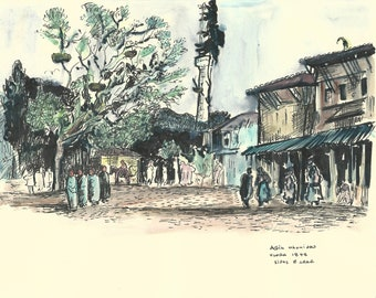 Watercolor Painting, Print from Original, Vlora City, Landscape Decor, Vlora 1948 from Edward Lear
