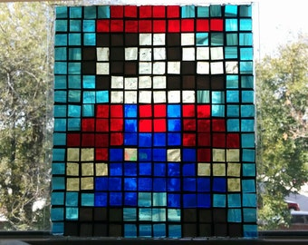 Stained Glass 8-Bit Mario Mosaic