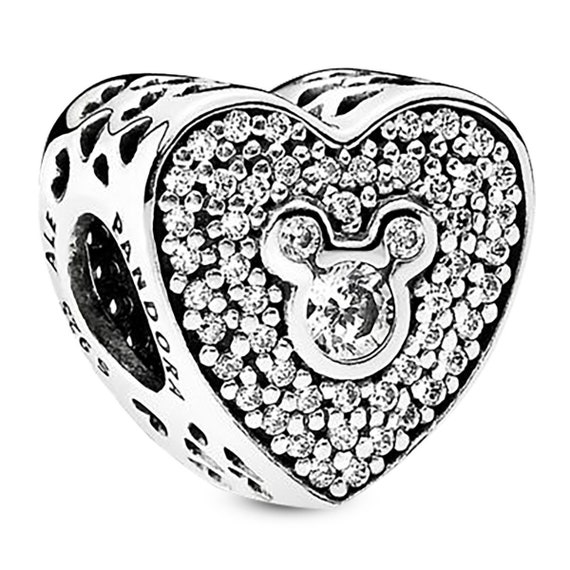 ceaee3be2 Authentic Pandora Disney Parks Mickey & Minnie Icon Heart Sparkling  Sterling Silver Charm Bead 792049CZ