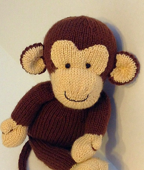 Monkey Knitting Pattern Diy Mr Monkey Is Knited Toy Etsy