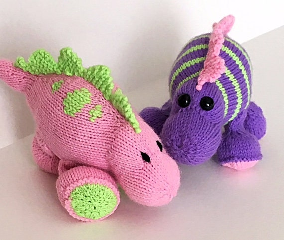 Dinosaur Knitting Pattern Dinsoaur Size 4 Dino With Spikes Etsy