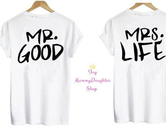 d6ad7856b8 Matching Couples Mr Good Mrs Life (2) Letter Print Shirts/T-Shirts /Husband/Wife/His/Hers