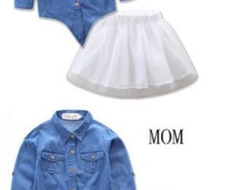 d3dc13deb Matching Mom & Daughter (2) Sets (Denim Shirt, Tutu White)