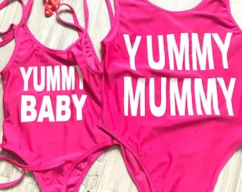 Matching Mom & Daughter (2) Swimsuits (Yummy/Pink)/Beachwear/Pool Party/Girls/Baby Girls/Women/Water-park/Clothing/Mommy/Me/Swimwear/Toddler