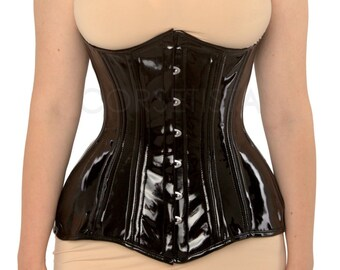 Underbust waist training tightlacing steel boned vinyl PVC corset of sublime curved shape