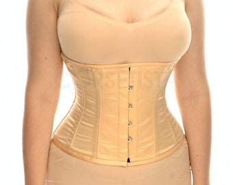 "Underbust waist training tightlacing steel boned satin corset of casual ""mini"" shape"