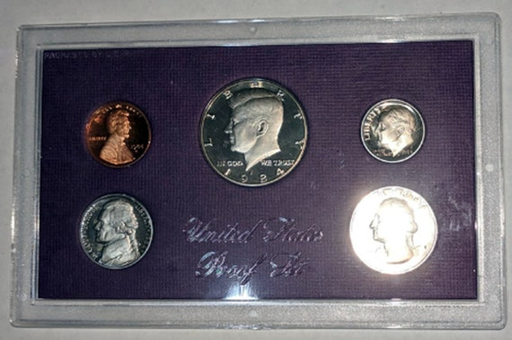 1969-S PROOF SET FROM MINT SHIPPING BOX,COMMON AGING SPOTS OR HAZE ON SOME COINS