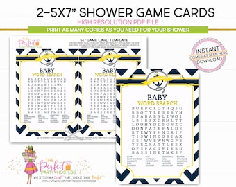 Nautical Word Search Instant Download na1 Nautical Word Scramble Nautical Baby Shower Anchor Word Scramble Game Word Search blue