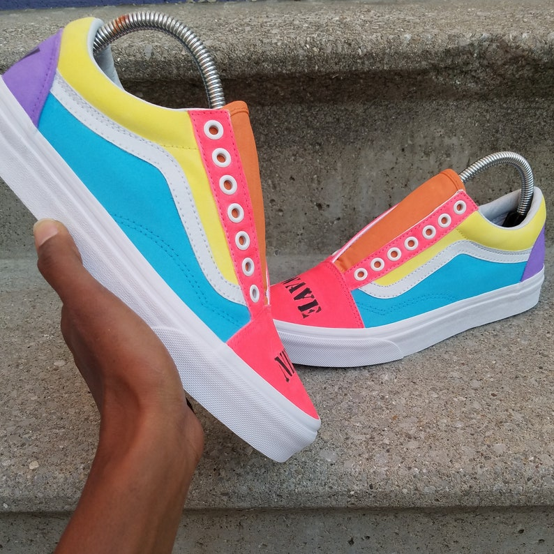 3132ee459299 Colorful Vans Custom Vans Tropical Vans Pink Vans Blue