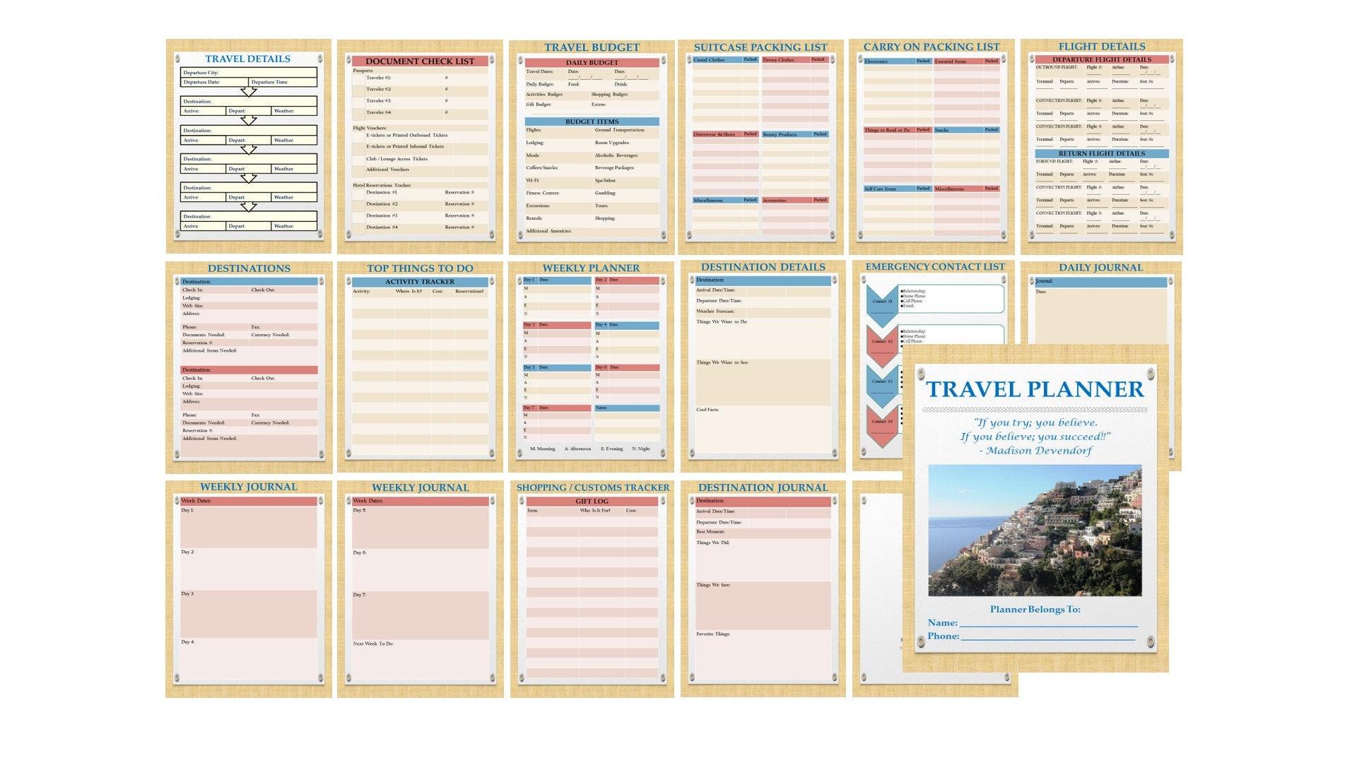 Travel Planner Italian Papyrus Theme Basic Set