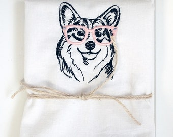 Personalized Tea Towel BELLA Corgi