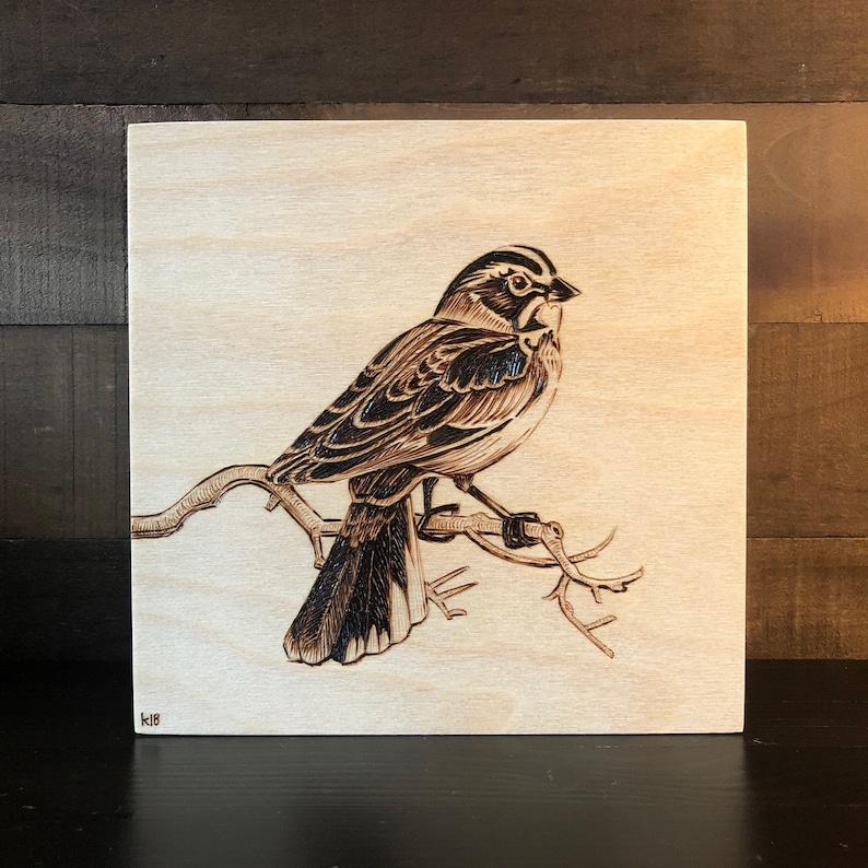 8x8 Wood-burned Lark Sparrow Bird Art on Wood Rustic Bird Art Gift for Birders Vintage Ornithology