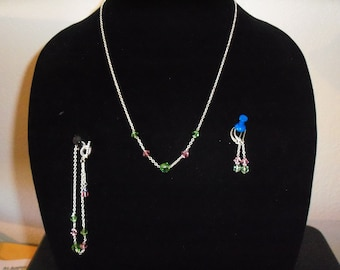 Silver necklace, bracelet, and earrings with green and pink Swarovski crystals. FREE SHIPPING