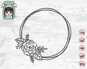 Flower Wreath Svg Etsy