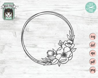8f72fc396 Flower Frame SVG, Wreath SVG file, Flower Wreath svg, offset circle, Flower  Monogram frame, Wreath cut file, floral Wreath svg, vector