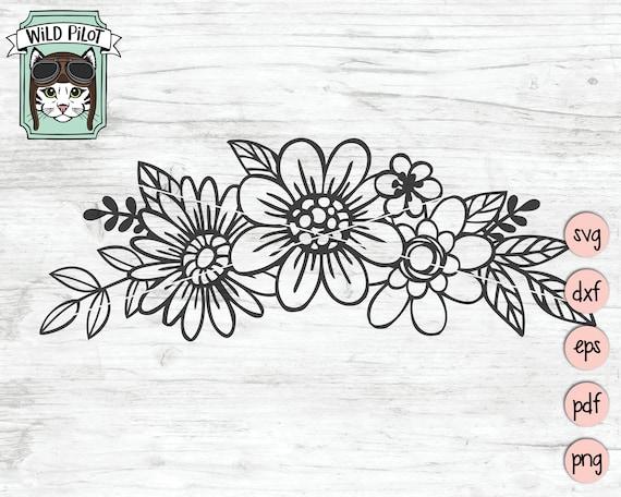 Flowers SVG file, Flowers cut file, Floral svg, Flower Border svg file,  Floral Border cut file, Flowers clip art, personal + commercial use