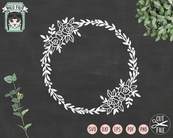 Wreath Svg File Flower Wreath Cut File Wreath Vector Floral Etsy