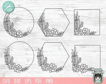 Cactus Frames SVG, Cactus SVG file, Cactus Monogram svg, Cactus Border, Succulent svg, Cactus cut file, Wreath svg, Round, Hexagon, Square