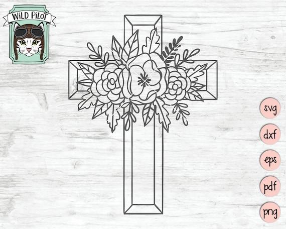 Flower Cross Svg Floral Cross Svg File Flower Cross Cut Etsy