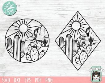 Cactus SVG file, Cactus cut file, Desert Scene svg, Cactus Scene svg, Mountain Scene svg, Cactus Patch svg, Scene cut file, Diamond, Circle