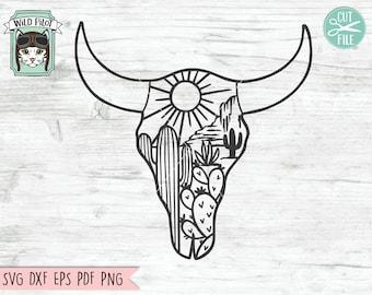 Cow Skull Desert SVG file, Cow Skull Cactus svg file, Cow Skull svg file, Cow Skull Desert cut file, Southwest, Boho svg, longhorn, buffalo