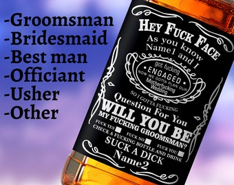 Custom Whiskey Labels Personalized Fuck face label bottle whiskey gifts Whiskey fuck face Groomsman label
