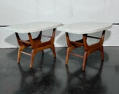 Rare solid terrazzo sculpted side tables