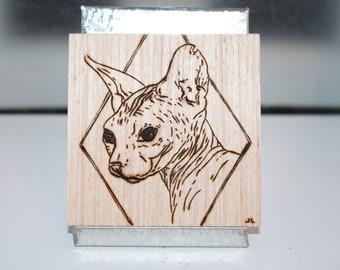 Wood burned art.