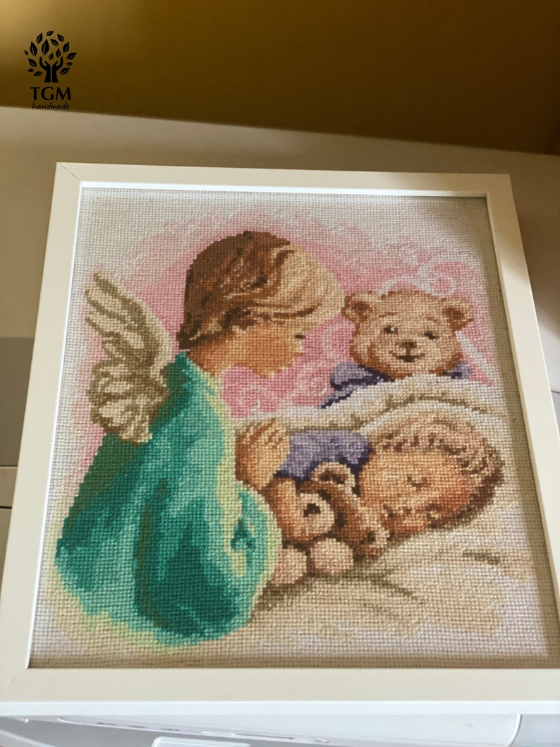 Angel and Baby Embroidery Beautifully Hand Embroidered Picture for Kids Room