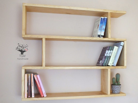 S96 Modern Bookshelf Made Of Solid Pine Wall Hanging Funky Etsy