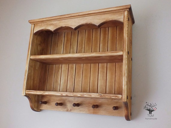 newest 0d439 99148 Timber Shelving Unit | Solid Pine Wall Cabinet With Cub's Hooks | Cottage  Style Cabinet