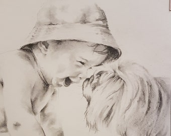 Custom portrait, Personalized, Pet portrait, charcoal drawing from photo