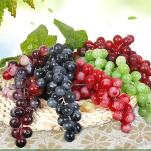 Wreath Fruit Vintage Red Grapes Blue Hutch G36 Ombre Millinery Fruit Floral Decor Artificial Grapes Cake Topper Fake Fruit