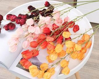 Decorative Artificial Flowers Artificial Chinese Lantern Stem x3