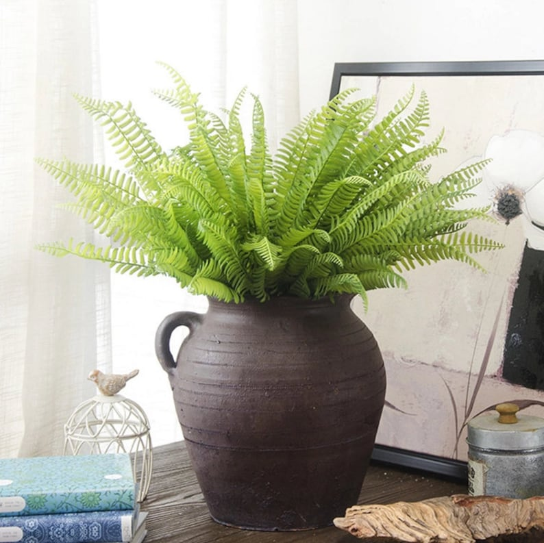 Fern Leaves Artificial Bush Indoor Outdoor Greenery Home Etsy