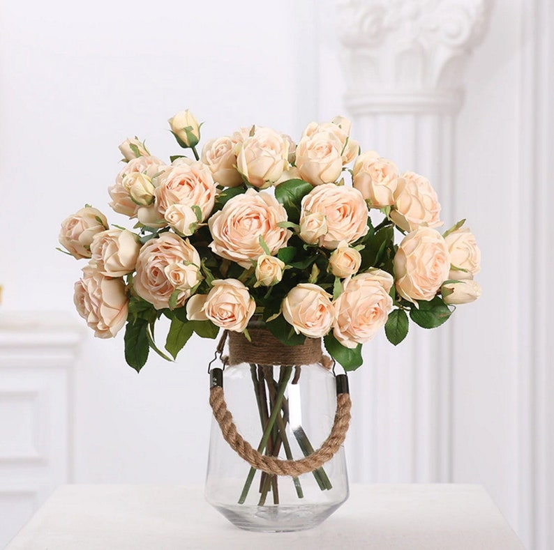Silk Roses on stems Artificial flowers White roses. Artificial Roses 45cm17.7 total lenght Faux roses