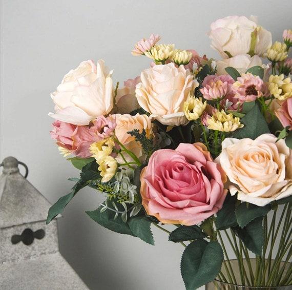 11 head european rose artificial flower wholesale plastic etsy image 0 mightylinksfo