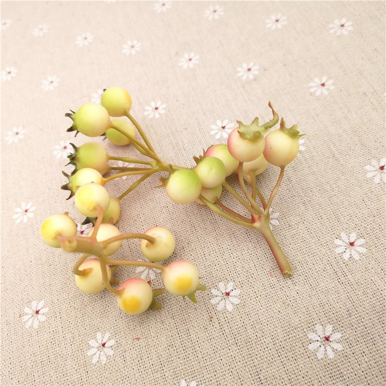 10 pcs Artificial berry stems Artificial Berries  Crafts Floral Accents Floral Supplies Artificial Fruit Faux Millnery Berries 7 berries