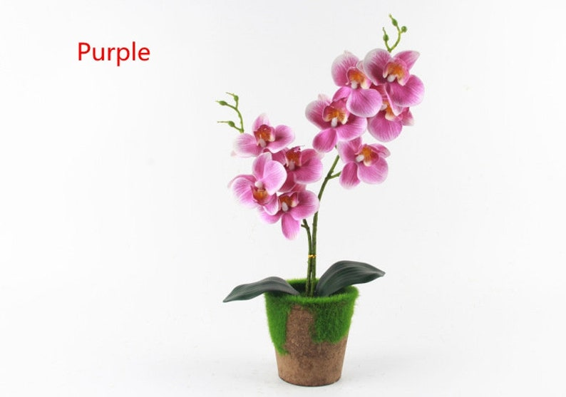 Artificial Orchid Arrangement Artificial Floral Centerpiece Silk Orchid Arrangement  Faux Plants for Home Decor