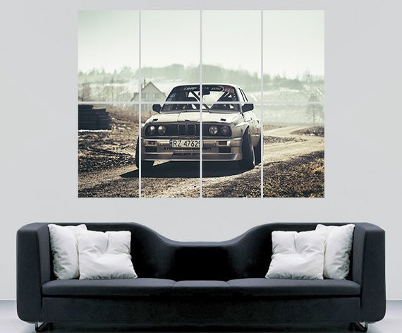 BMW E30 M3 Sports Rally Car Giant Wall Art Poster Print