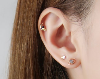 Moon Star Planet Spaceship Astronaut Earring Set, 925 Sterling Silver Tiny Dainty Gold & Rose Gold Studs Perfect Gift for Multiple Piercings