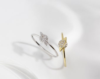 ring gold band zodiac ring -E4R-1324 gold saturn ring universe ring cz band Gold planet ring cz ring ring planet ring