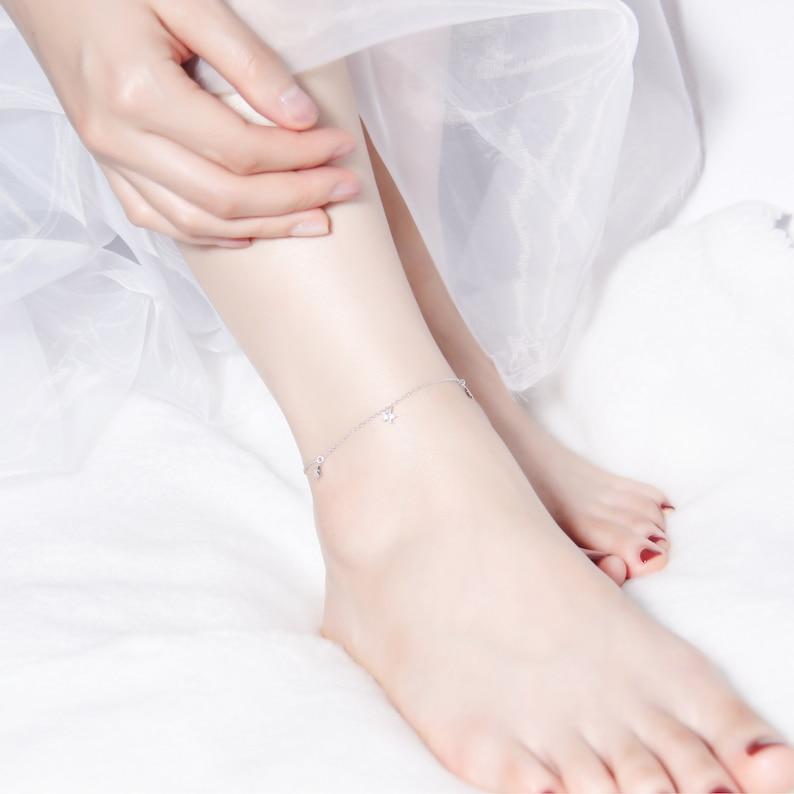 Thin Leg Bracelet Star Celestial Charm Anklet Bracelet S925 Sterling Silver CZ Stone Dainty Feet Chain Fashion Ankle Chain for Women Her