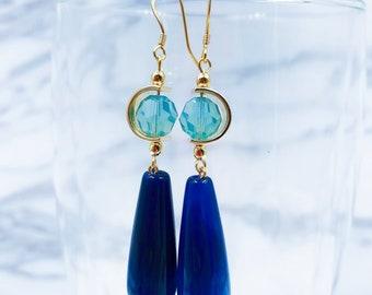 Blue Onyx and Swarovski Crystal Earrings
