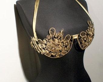 Handmade Metal Bra, Wire Wrapped Metal exotic dance Bra
